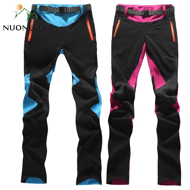 NUONEKO 2019 Elastic Quick Dry Hiking Pants Women Thin Patchwork Trousers Sports Outdoor Climbing Trekking Waterproof Pants PN05