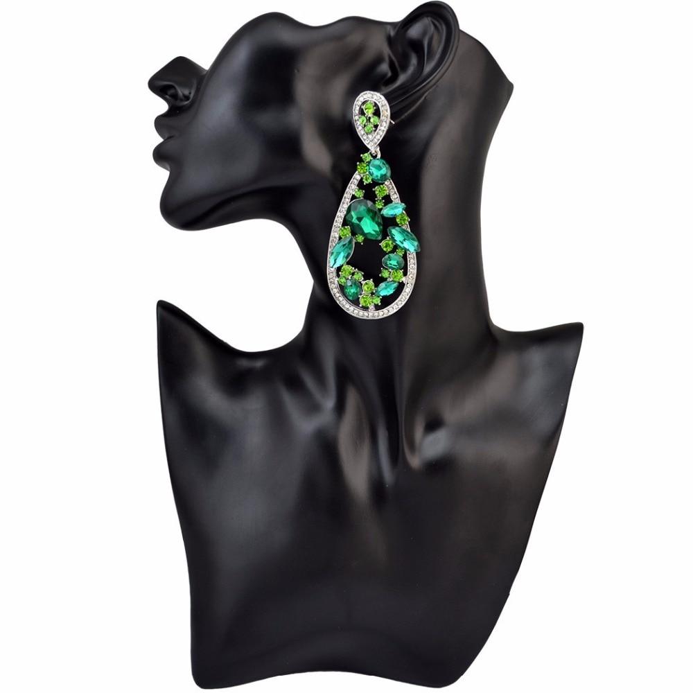 Pengantin mewah hijau ungu anting kristal, Wanita perhiasan pernikahan, Liontin besar, Pernyataan penurunan anting pengantin, Brincos panjang 2018
