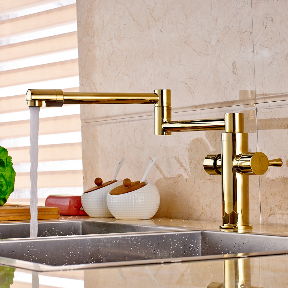 Golden Swivel Spout Deck Mount Bathroom Kitchen Faucet 1 Hole Sink Mixer Tap New golden brass kitchen faucet dual handles vessel sink mixer tap swivel spout w pure water tap