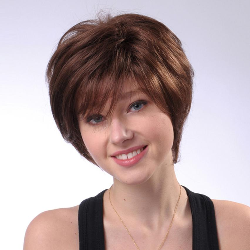Full Short Brown Wigs for Women Human Hair Wig Short Hair Wig Styling 5U1018 side bang women s curly short siv hair human hair wig