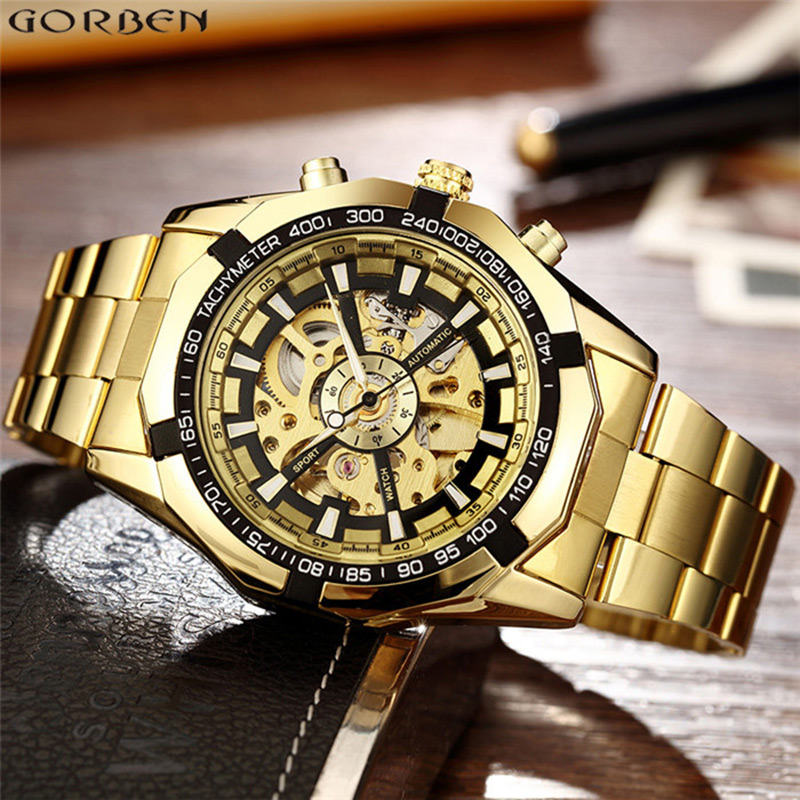 Skeleton Gold Automatic Watches Mens Luxury Top Brand Mechanical Wrist Watch Chinese Stainless Steel Sports Golden Male Clock top luxury sewor big automatic military watch men gift gold stainless steel diamond skeleton clock mechanical mens wrist watches