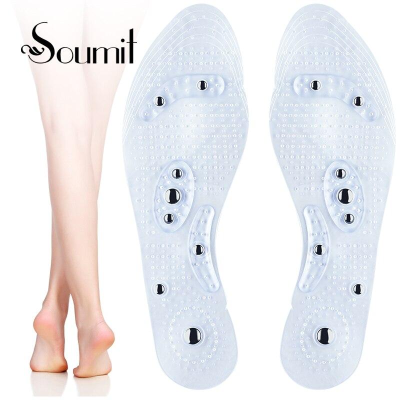 Soumit для мужчин женщин Магнитная терапия массаж стельки потеря веса Акупрессура способствовать циркуляции крови прозрачный обуви подошв