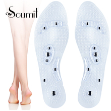Soumit Unisex Magnetic Massage Insoles Foot Acupressure Shoe Pads Therapy Slimming Insoles for Weight Loss Transparent недорого