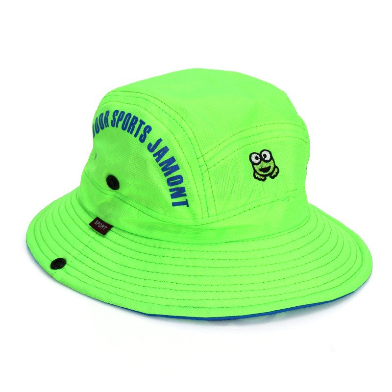 2017 Kids Frog Printing Bucket Hat Letters Fisherman Hats Summer Children Bob Cap Sun Protection Camping Cap For Boys And Girls
