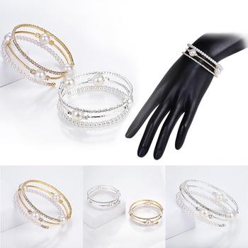 Crystal Pearl Rhinestone Multi-layer Adjustable Bracelet  6