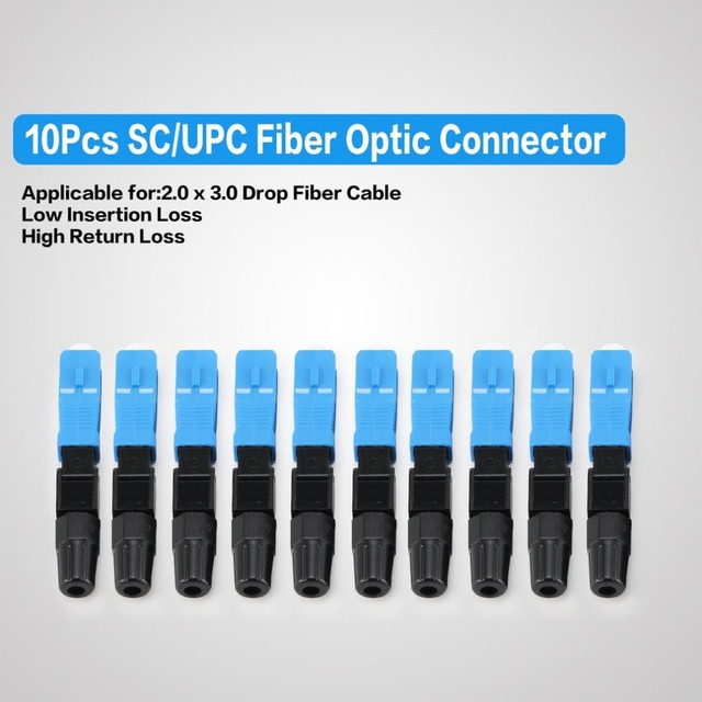 10Pcs SC/UPC Fiber Optic Connector FTTH Embedded Single Mode Assembly Fiber Optic Quick Connector Fiber Optic Fast Connector