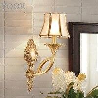 YOOK Led Wand Lampe Europäischen Kupfer Wand Lampe für Schlafzimmer Bett Gang Druck Milchglas Kupfer Wand Lampe E14 110 v 220 v LED-Innenwandleuchten    -
