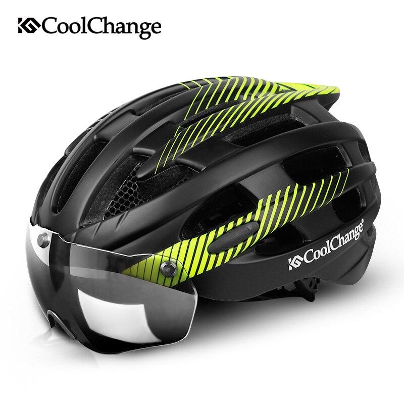CoolChange Fahrradhelm Mit Licht Winddicht Gläser Fahrradhelm MTB Insektennetz Angeformten Männer Frauen Fahrrad Helm