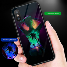 ciciber Phone Case For iphone 11 Pro Max X XR XS MAX Luminou Glass Cover for Iphone 7 8 6 6S Plus Night Cute Shine Girl Funda