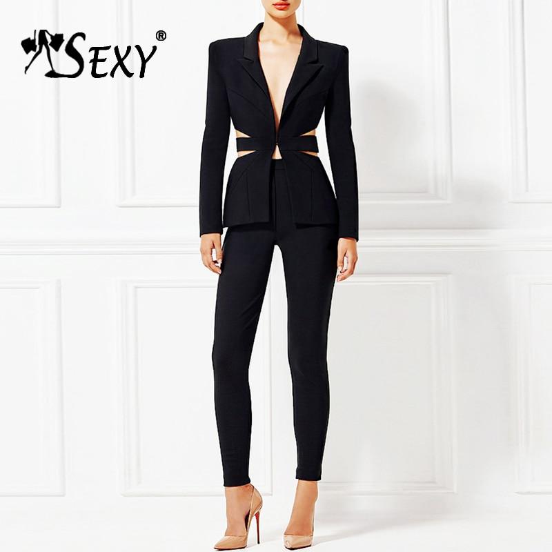 Gosexy New Deep V Sexy Hollow Out Business Pant Suits Set Blazers Formal OL Women Elegant Skinny Cut Out Black Backless Suit black hollow out design bikini pant