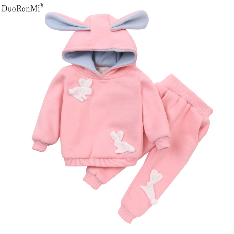 Baby Set Winter Girl Thick Suit Kids Cartoon Rabbit Velvet Warm 2PCS Sets Children Thick Sweatshirt + Pants 2pcs Clothes Sets he hello enjoy baby girl clothes sets autumn winter long sleeved cartoon thick warm jacket skirt pants 2pcs suit baby clothing