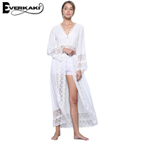 Everkaki White Lace Women Boho Dress Solid Long Sleeve Dresses High Waist V Neck Dress Shirt
