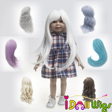 High Quality American Doll Wigs Heat Resistant Wire Long White Blue Khaki Brown Hair for 18 Dolls high quality 1 8 dolls hair heat resistant fiber brown khaki pink bob wigs only wigs