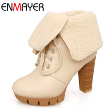 ENMAYER Round Toe Shoes Woman High Heels Ankle Boots for Women Cross-tied Lace-up Shoes Winter Boots Large Size 34-43 недорго, оригинальная цена