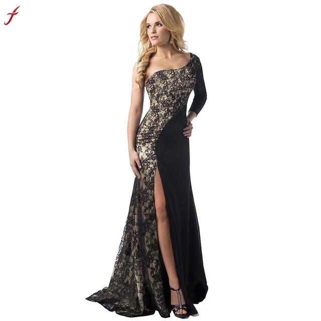 a17f8fb46f FEITONG kobiety formalna ślub druhna długa suknia na bal maturalny sukienka  koronki długość podłogi sukienka