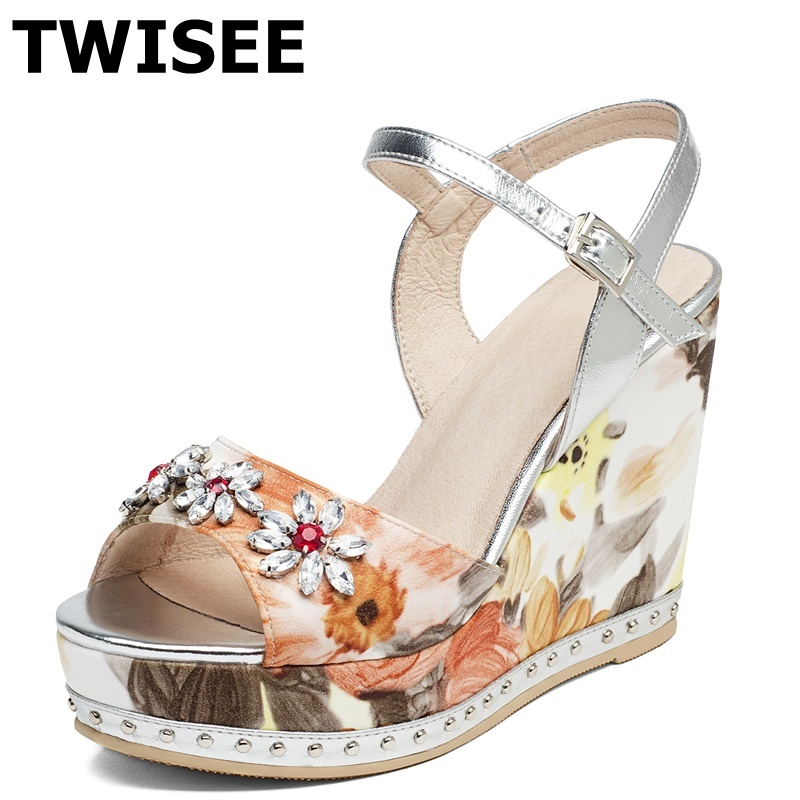 Platform woman casual shoes genuine leather fashion summer sandals Buckle Strap Crystal Wedges heels 13.5 cm ladies women shoes woman fashion high heels sandals women genuine leather buckle summer shoes brand new wedges casual platform sandal gold silver