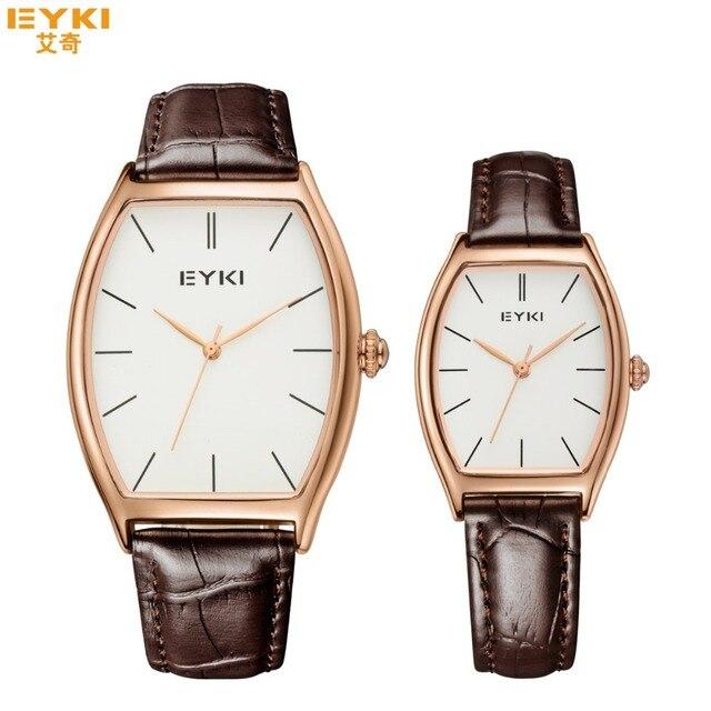 Eyki marca de lujo de mujer de marca de lujo de oro dial correa de cuero hombres reloj de cuarzo reloj del negocio para los hombres montre homme clcok