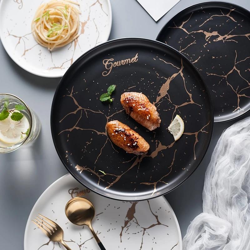 Scandinavian Marble Ceramic Tableware Plate Creative Steak Tray Dessert Fruit Home Dish Pasta Plate Wedding Party Dinner Tool Dishes Plates Aliexpress