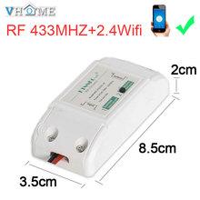 VHome dotykowy pilot zdalnego sterowania przełącznik bezprzewodowy 2 4g wifi + RF 433 MHz przekaźnik zasilania odbiornika 90 v-250 v 10A inteligentne życie aplikacji tanie tanio Przełączniki w ciągu 1 roku 15m-20m Wireless touch wall remote control 2 4g wifi + rf 433mhz function Plastikowe