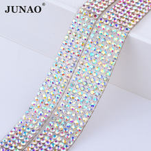 JUNAO 5 Yard Hotfix Glass Crystal AB Rhinestone Chain Trim Bridal Beads  Fabric Applique Strass Crystals Mesh Banding For Clothes 164125d8639d