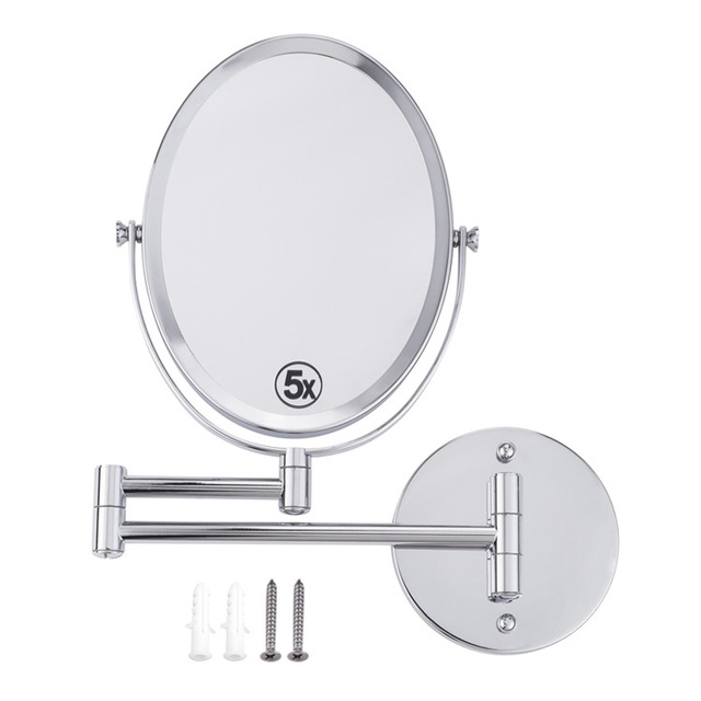 Oval Makeup Mirrors Wall Mounted Extending Folding Double Side Cosmetic Mirror 5x Magnification Bath mirror Toilet Mirror 8inch