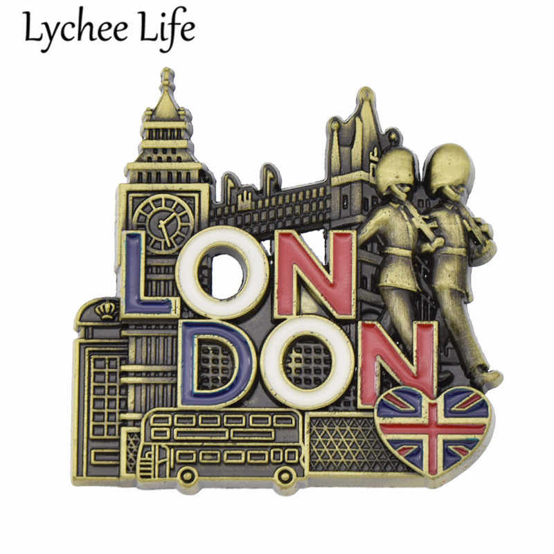 Metal London Scenic Refrigerator Magnetic Sticker England Style Fridge Magnet Gift Modern Home Kitchen Decoration