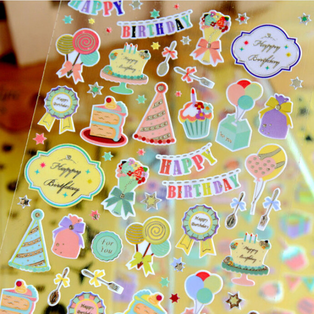 1 Sheet Cute DIY Fluorescence Cartoon Paper Sticker Album Scrapbook Calendar Diary Planner Card Retro Stickers Decoration