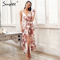 Simplee Strap Backless Satin Summer Dress Women Floral Print Bohemian Maxi Dress High Split Beach Causal