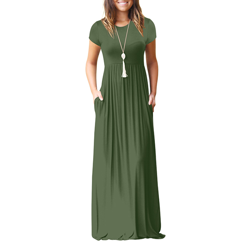 Summer Women Loose Dress 2xl 2018 Ladies Casual Short Sleeve Long Maxi Dress Sundress Summer Beach Dress