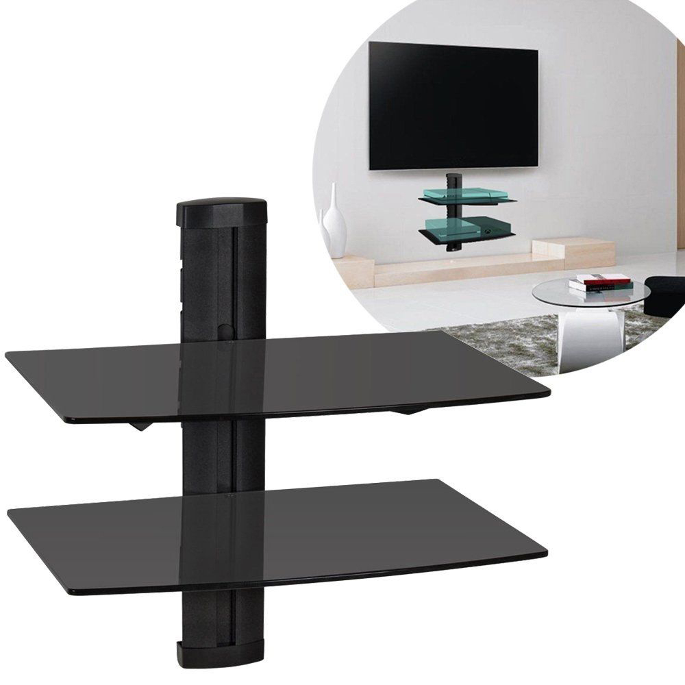 2019 Hot Universal Set top Box Wall Mount DVD Bracket Shelf with Black Strengthened Tempered Glass for Cable Boxes/Games HWC