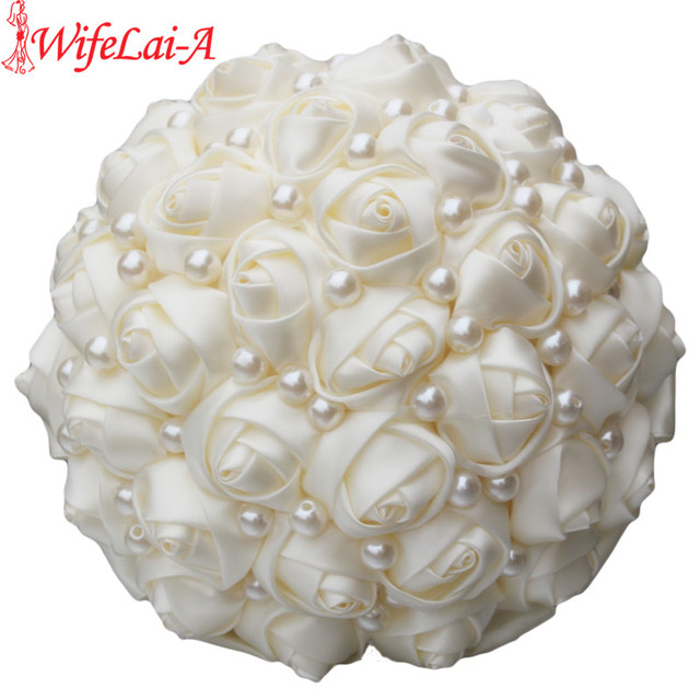 WifeLai A Pure Color Ivory Bridal Wedding Bouquet Cream Satin Rose ...