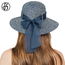 bc807c1fdf3 FS Summer Elegant Foldable Outdoor Bow Woven Straw Hat For Women Ladies  Flat Sun Hats