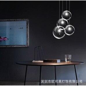 Image 4 - נורדי מודרני מינימליסטי זכוכית כדור תליון מנורת מסעדה יחיד בראש בר תליון אור E27 AC110V 220V 230V