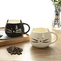 2 Colors Ceramic Cat Mug White Black Food Grade Ceramic Coffee Milk Tea Juice Cup Handgrip