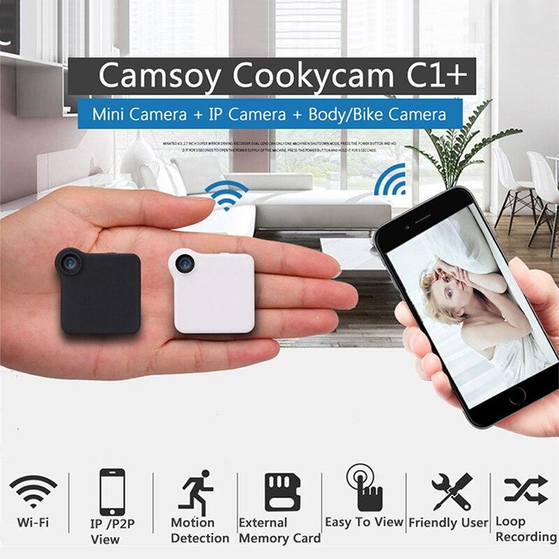 C1 C1 + C1 Mini Câmera HD 720 p WI-FI Câmera IP Sensor De Movimento Do Corpo Da Bicicleta Wearable P2P Micro Mini DV DVR Gravador De Voz Clipe Magnético