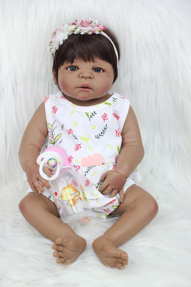 55 cm Volle Körper Silikon Reborn Baby Puppe Spielzeug 22 zoll Schwarz Haut Neugeborenen Mädchen Prinzessin Kleinkind Babys Puppe Kind baden Spielzeug