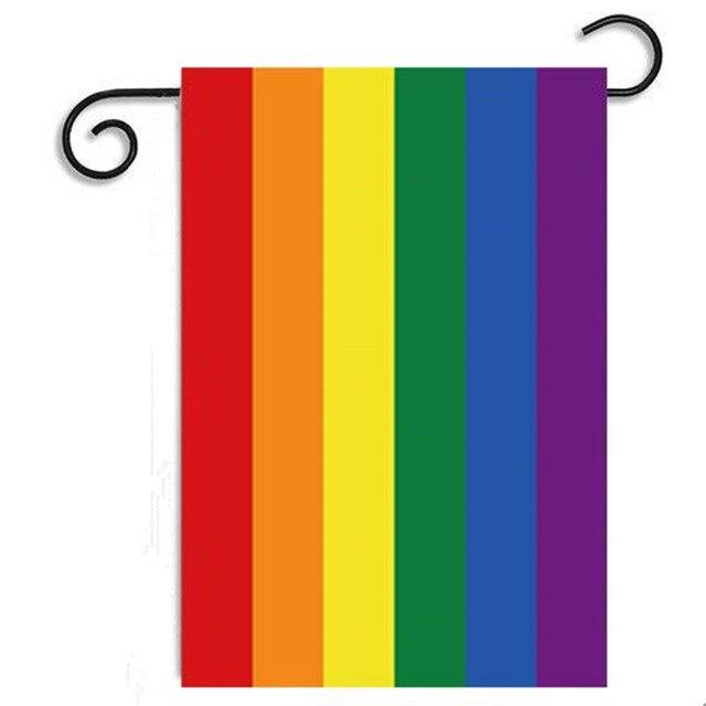 Good 45cmx30cm Rainbow Flags Lesbian Gay Pride LGBT Flag Home Decor Colorful  Rainbow Polyester Garden Banner