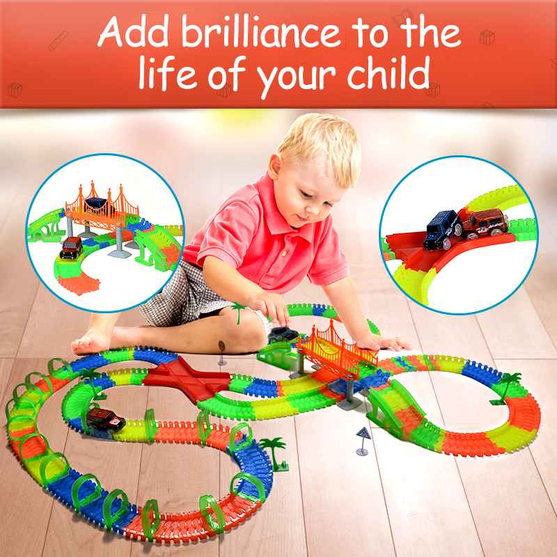 Luz de carretera de ferrocarril con truco brillante carrera luminosa carrera flexible slot cars Magic truck juguetes para niños pistas milagrosas