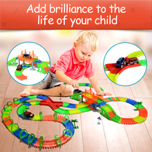 Railway road light with glow stunt glowing race luminous racing flexible slot cars magical truck toys for boys miracle tracks new magic track flexible rail racing car model railway road magical truck pull back tracks cars set diy toys for children gifts
