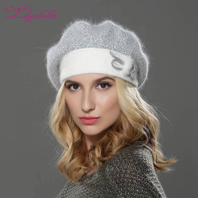 ee33a51bf8fcf placeholder LILIYABAIHE NOVAS Mulheres inverno mink boina chapéu feito malha  de lã angorá boina patchwork elegante decoração