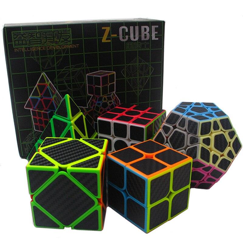 5 pcs/ensemble 2x2x2 3x3x3 4x4x4 Magic Speed Cube ensemble Bandée Cube Jouets Éducatifs Puzzle Mega Skew Cube Cadeaux pour Enfants ou Adultes