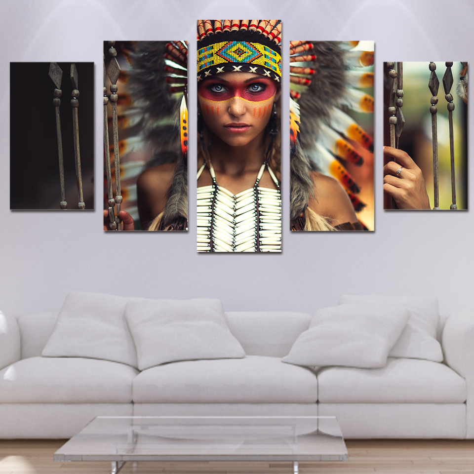 5 Panels Popular Indian Girl Native American Canvas Prints Rhaliexpress: Native American Paintings For Living Room At Home Improvement Advice