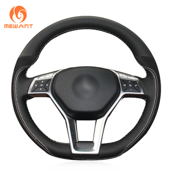 MEWANT Black Genuine Leather Black Suede CarSteering Wheel Cover for Mercedes Benz A-Class 2013-2015 CLA-Class 2013 2014 C-Class