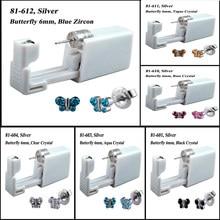 Kit de piercing estéril descartável sem dor, 2 peças, unidade de piercing estéril seguro, ferramenta de piercing de orelha de borboleta, moda embutida joias 20g