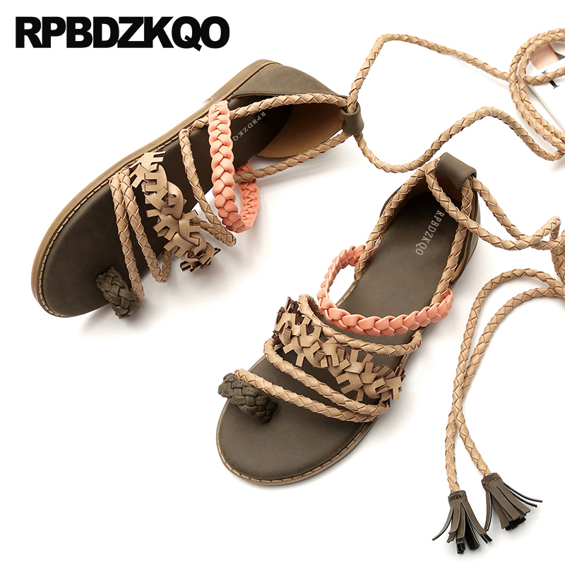 7e7ac17b18e994 Shoes Ladies Strap Up Sandals Roman Toe Ring Women Casual Bohemia Strappy  Tie Flat Beach Gladiator Holiday Fringe Brown Ethnic