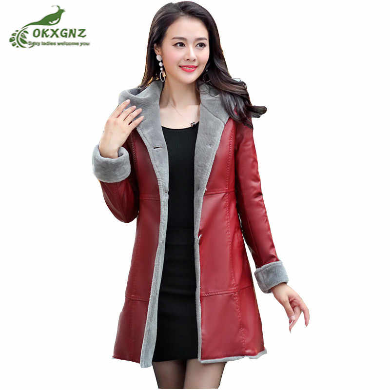 Autumn winter new fur one leather Outerwear female medium long Plus size leather windbreaker coat women thickening coat OKXGNZ