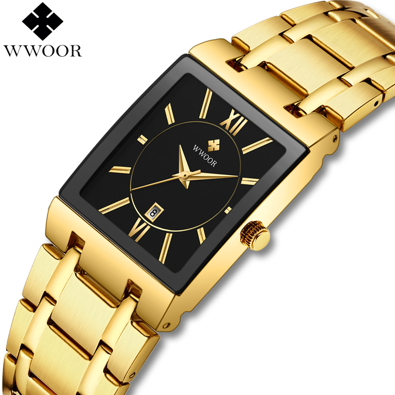 WWOOR Mens Watches Top Brand Luxury Gold Square Analog Quartz Watch Men Wristwatch Waterproof Golden Male Wrist Watch Man Clock