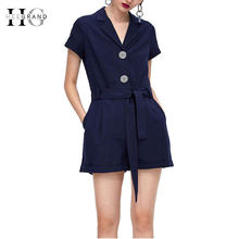 d411990533 HEE GRAND 2018 Summer Turn-down Collar Jumpsuits Pockets Office Lady Rompers  Women's Slim Waist Playsuits with Sash WKL903