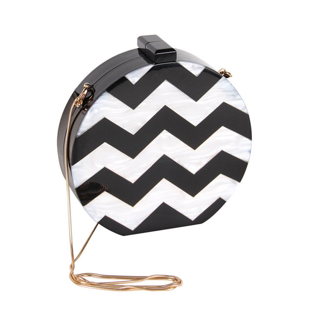 NEW Design Acrylic Round Shape Women Clutch Bag Stripe Sexy Lady Evening Bag Female Chain Mini Purse Shoulder Bag Handbag Flap