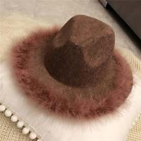 Hiver femmes autruche cheveux bord Jazz feutrés chapeau pour femmes grand bord cowboy panama feutrés Dames laine feodra chapeau